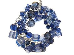 Blue and Silver Beaded Wire Crochet by FrivolousFunBoutique