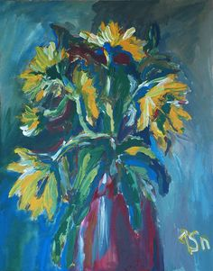 Sunflowers acrylic painting - Tetyana Snezhyk