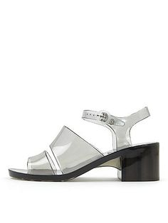 Chunky jelly sandal with two front panels and an adjustable ankle strap.