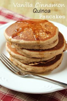 Vanilla Cinnamon Quinoa Pancakes from Delicious as it Looks