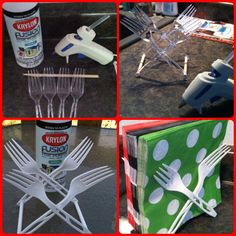 DIY Napkin Holder perhaps with vintage silverware? Fun Crafts, Diy And Crafts, Craft Projects, Projects To Try, Craft Sale, Crafty Craft, Craft Fairs, Vintage, Plastic Spoons