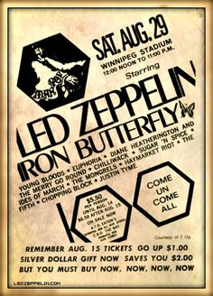 Led Zep: Man Pop, Winnipeg, Manitoba, Canada, August 29, 1970.