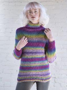 66150fd8df52d7 Easy! Adda Funnel-Neck Pullover Sweater Knitting Pattern using self  striping Berroco Aero Yarn