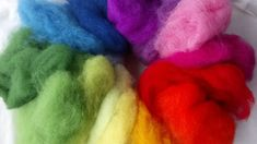 15 Colour Rainbow Mix - Merino and Mountain Sheep Batts Needle Felting Kits, Wet Felting, Heart Garland, Pom Pom Garland, Color Show, Wool Felt, Sheep, Mountain, Rainbow