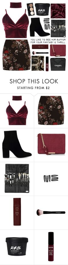 """""""Untitled #2698"""" by tacoxcat ❤ liked on Polyvore featuring Boohoo, Ganni, Gianvito Rossi, New Look, Byredo and Chanel"""