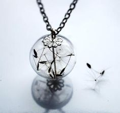 Dandelion Necklace Make A Wish 04 Glass by NaturalPrettyThings
