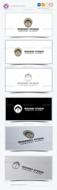 Monkey Studio Logo Template — Photoshop PSD #logo #character • Available here → https://graphicriver.net/item/monkey-studio-logo-template/5472027?ref=pxcr