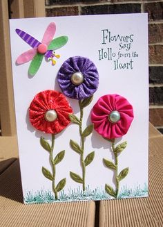 Fabric YoYo Flowers Any Occasion Card  Birthday  by CraftsByChar, $2.25
