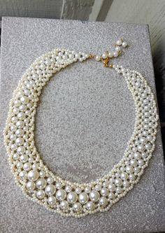 Romantic Red Choker Collar Necklace Glass Beaded Scallop Fringe Bib Dramatic Wedding Bride Bridal Victorian Statement Jewelry Jewellery