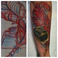 Colored quill pen and inkwell forearm tattoo