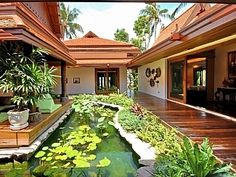 The accommodation is situated around a central lotus pond with feature sala, all housed within several Thai style buildings. Bali Style Home, Thai House, Internal Courtyard, Malibu, Kerala Houses, Village Houses, Tropical Houses, Luxurious Bedrooms, Traditional House