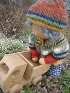 Waldorf type knitted Boy by FeltingZsuska on Etsy.