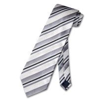 White Neck Tie with Black/Grey/Floral Pattern Diagonal Stripes NeckTie