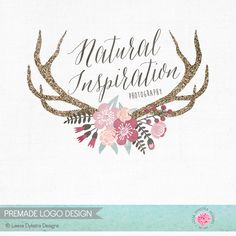 Glitter Antlers and Watercolor Flowers Photography Logo Design and Watermark Business Branding Nature Boutique Logo Premade Logo Design