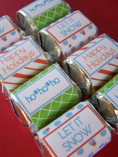 Printable Holiday Chocolate Wrappers are in the shop! Get them now before the holidays sneak up and pass you by. Christmas Party Favors, Christmas Labels, Christmas Decorations To Make, Christmas Printables, Christmas Centerpieces, Holiday Candy, Christmas Candy, Christmas Holidays, Christmas Ideas