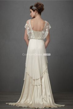 Graceful Sheath Satin Cape Sleeves Lace Draping Wedding Dress picture 2