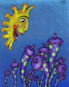 Happy Valley crayon on blue paper by Carolyn Watson Dubisch