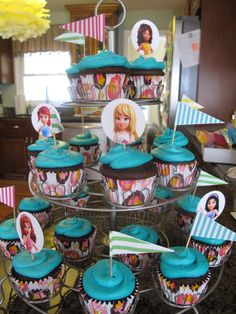 Lego Friends Birthday: Birthday girl requested choc cake with teal icing...added headshot and pennant picks to decorate