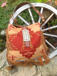 ☯☮ॐ American Hippie Bohemian Style ~ Pendleton Wool & Copper Metallic Fringed Boho Bag!