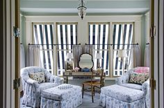 """106 Likes, 4 Comments - Cathy Kincaid Interiors (@cathykincaidinteriors) on Instagram: """"The striped awning creates the perfect backdrop for this master sitting room!✨"""""""