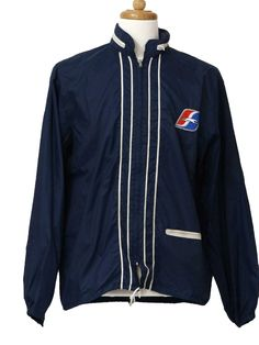 b560320680 Seventies PlaJac Jacket  70s -PlaJac- Mens blue and white light weight  acrylic zip