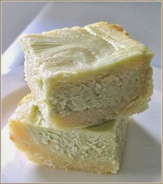 Green Tea Cream Cheese White Chocolate Brownie - A very light and delicate dessert bar made with green tea or macha (japanese word for green tea) powder.