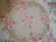 Hand painted Rose cake stand