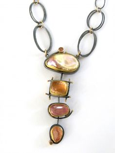 Aurora Cascade necklace: keshi pearl, peach tourmaline, rose cut tourmaline and topaz. by Sydney Lynch