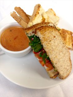 A shot from our build your own grilled cheese bar served with tomato basil and feta soup  www.cafecateringandevents.com