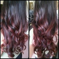Red violet balayage highlights hair in 2019 Long Bob Hairstyles, Pretty Hairstyles, Hairstyle Ideas, Balayage Highlights, Burgundy Balayage, Blonde Balayage, Cute Hair Colors, Brown Ombre Hair, Beautiful Haircuts