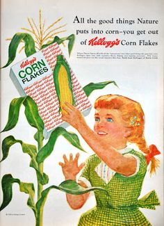 You get all the good things nature puts into corn in Corn Flakes! #vintage #1950s