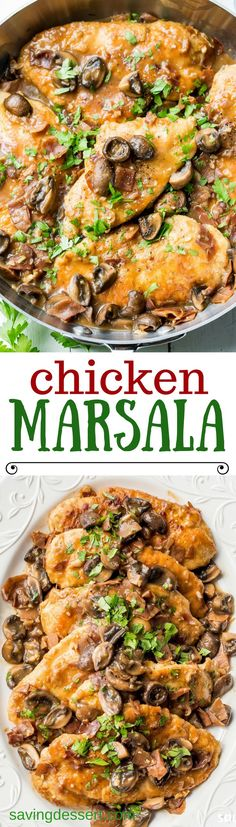 Classic Chicken Marsala ~ tender chicken breasts are seasoned and sautéed, then simmered in a Marsala wine sauce with shallots, prosciutto, and plenty of earthy mushrooms. Your guests never have to know how easy this is to make! savingdessert.com #chicke