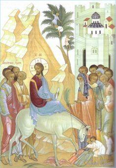The Entry into Jerusalem Religious Icons, Religious Art, Orthodox Icons, Sacred Art, I Icon, Christian Art, Kirchen, Fresco, Jesus Christ