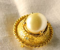Large Gold Tone Pin Brooch Vintage Large Faux by resurrections, $12.95