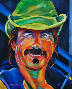 This portrait of a sailing captain depicts the many colors of the islands in his face as well as the color of white sails.