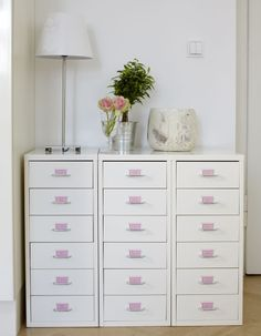 Thea Neuberger ~ File drawers labeled with pink labels ~ Thea Neubauer apt as originally featured in Ikea mag ~ Apartment tour: Teresa of Germany (Studio, 60 sq. M.)