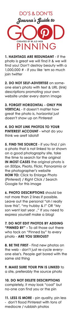 JOANNA'S GUIDE TO GOOD PINNING  - Please DO NOT edit this photo (pin) in any way, OR change copyright OR source link