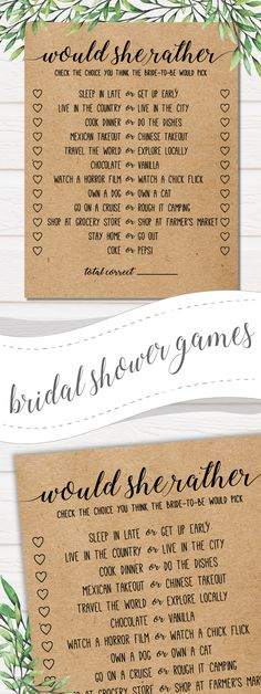 Great if you are looking for something different than the old stand-by bridal shower games. I love combining unique rustic design with modern games. . . bridal shower games,wedding invitations,bridal shower,bridal shower favors,wedding games,bridal shower invitations,bridal shower ideas,bridal shower decorations,wedding shower #weddingideas