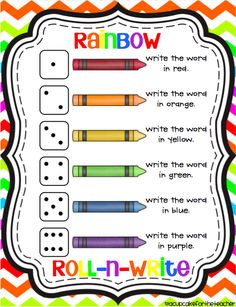 Roll-n-Write {Freebie} This is such a great idea from A Cupcake for the Teacher. It's a word work activity that can be used to practice writing sight words or spelling words. It's called rainbow roll-n-write and it's a FREEBIE!From From may refer to: Word Work Activities, Spelling Activities, Writing Activities, Frozen Activities, Writing Resources, Sight Word Practice, Writing Practice, Spelling Practice, Sight Word Games