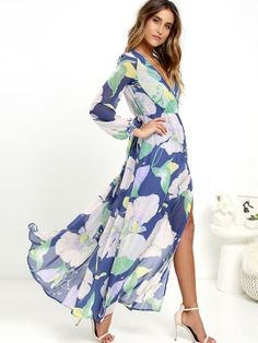 Fashion Floral Imprint Long Sleeve  Dress