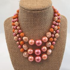 Vintage Bead Necklace| Statement Necklace| Made in Japan| Wife Gift| Pink Necklace| Gift for her| Gift Ideas| Gift for Mom| Valentines Da