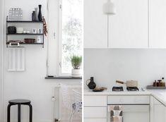 artek lamp and string poket Kitchen Redo, Kitchen Dining, Kitchen Cabinets, Dining Room, All White Kitchen, Steel Furniture, Beautiful Space, Scandinavian Design, Home Kitchens