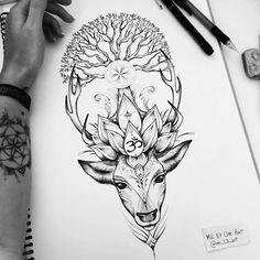 Confira este projeto do @Behance: u201cDeer tattoo commissionu201d https://www.behance.net/gallery/42633773/Deer-tattoo-commission