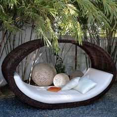 Sampan Outdoor Wicker Pod, $8,995, Home Infatuation. (Designed by Locsin International for Neoteric Luxury.) #garden #outside #decor