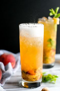 Chill out with this Bourbon Peach Smash Cocktail. A favorite Summertime sipper. Refreshing Drinks, Summer Drinks, Cocktail Drinks, Fun Drinks, Cocktail Recipes, Alcoholic Drinks, Mixed Drinks, Smoothie Drinks, Smoothie Recipes