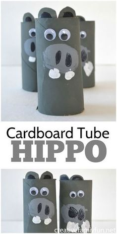 Grab a few things from the recycle bin to make this cardboard tube hippo craft. It's fun to make and it's fun to play with.
