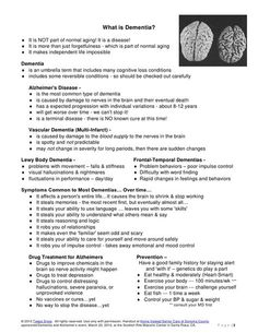 This is one of the handouts by Dementia and Alzheimer's expert, Teepa Snow, at the Home Instead Senior Care of Sonoma County event on March at the Sc… What Is Dementia, Dementia Care, Alzheimer's And Dementia, Dementia Quotes, Dementia Facts, Dementia Training, Montessori, Understanding Dementia, Handout