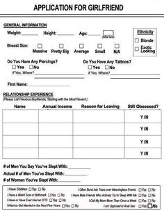 Funny application forms for dating