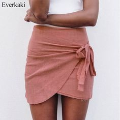 Everkaki Summer Lace up Beach Short Skirts Women Vintage Irregular Halter High Waist Skirts Bodycon Wrap Solid Mini Boho Skirts-in Skirts from Women's Clothing & Accessories on Aliexpress.com | Alibaba Group