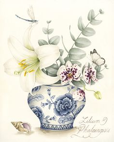 White Lily and Phalaenopsis orchid in a blue and white pot - original watercolour painting by Kelly Higgs, also available as a limited edition print.